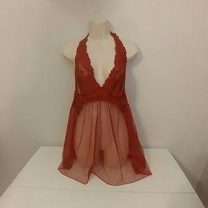 Victoria's Secret sheer red halter babydoll